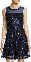 Romeo & Juliet Couture Sequined-Embellishment Mesh Dress, Blue