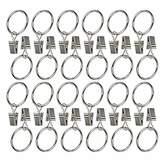 Black 1 Ogrmar 24Pcs Nickel plating Metal Curtain Clip Rings 24