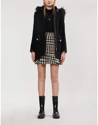 Claudie Pierlot Detachable-hood faux fur-trim wool-blend jacket