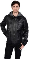 Excelled Men's Excelled Faux-Leather Hooded Bomber Jacket