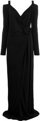 Blumarine cold shoulder wrap dress