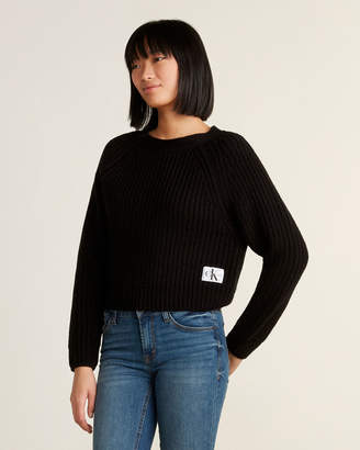 Calvin Klein Jeans Chunky Knit Crop Long Sleeve Sweater