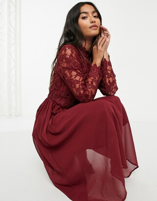 Chi Chi London lace long sleeve midi dress in burgundy