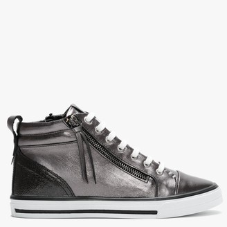 Moda In Pelle Estarni Pewter Leather High Top Trainers