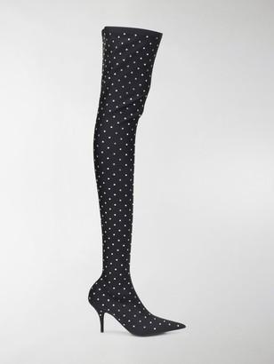 Balenciaga Knife crystal-embellished boots