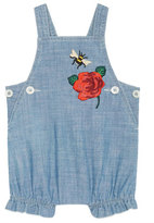 Gucci Chambray Bee & Rose Overalls, Blue, Size 3-24 Months