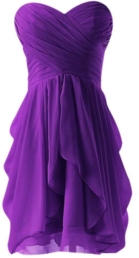 Drasawee Strapless Chiffon Short Evening Prom Party Dress Junior Homecoming Gowns