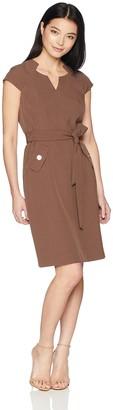 Kasper Women's Petite Cap Sleeve Dress with Cut Out Neck and SELF Belt