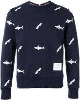 Thom Browne fish print sweatshirt - men - Cotton/Cupro - 0