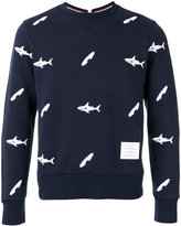 Thom Browne fish print sweatshirt - men - Cotton/Cupro - 2