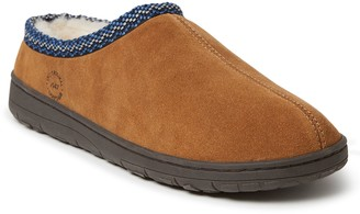 Dearfoams Men's Woven Accent Suede Clog Slippers