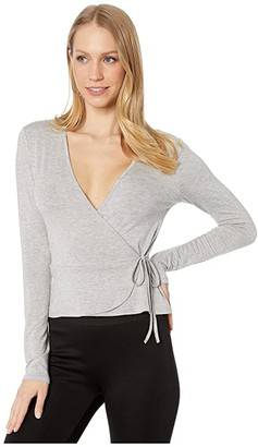 BCBGeneration Wrap Side Tie Knit Top ONN1267537 (Heather Grey) Women's Clothing
