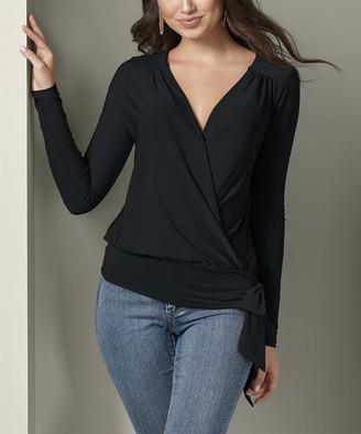 Venus Women's Blouses BK - Black Tie-Side Surplice Top - Women & Plus