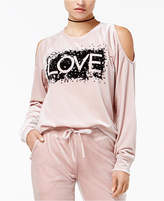 Material Girl Active Juniors' Love Velour Cold-Shoulder Top, Created for Macy's