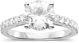 2 1/3 CT DEW Classic Moissanite Fashion Ring In Rhodium Plated Sterling Silver