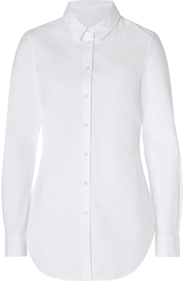 Closed Stretch Cotton Tunic Shirt in White