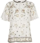 River Island Womens White floral embellished cape top