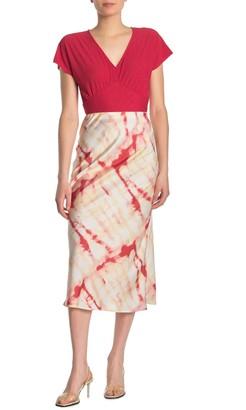 Lush Tie-Dye Satin Midi Skirt