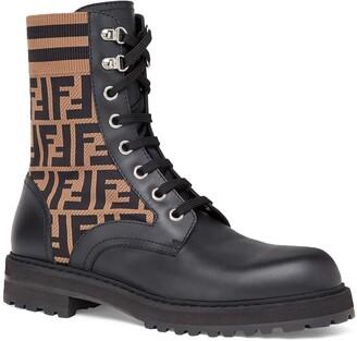 Fendi Stivaletto Vitello Maglia FF Motif Lace-Up Sock Boot