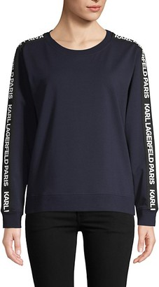 Karl Lagerfeld Paris Logo-Taped Stretch Sweatshirt