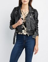 Charlotte Russe Faux Leather Cropped Moto Jacket