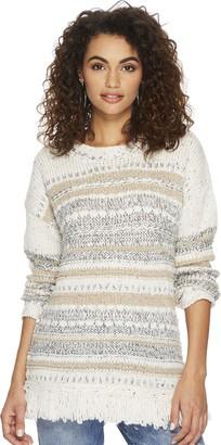 Jack by BB Dakota Women's Joannie Patterened Fringe Sweater