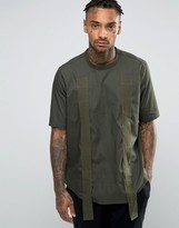 Asos Over The Head Shirt In Khaki With Split Sides And Strapping