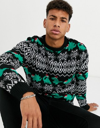 Another Influence dinosaur Holidays sweater