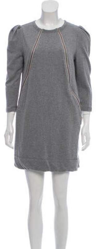Karen Walker Zip-Accented Crew Neck Mini Dress grey Zip-Accented Crew Neck Mini Dress