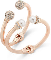 INC International Concepts Rose Gold-Tone 2-Pc. Imitation Pearl and Crystal Hinge Bracelet Set, Only at Macy's