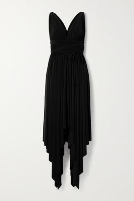 Norma Kamali Goddess Asymmetric Pleated Stretch-jersey Dress - Black