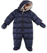 Burberry Skylar Quilted Down Snowsuit, Navy, Size 3-18 Months