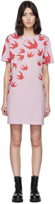 McQ SSENSE Exclusive Swallow Pink Swallow T-Shirt Dress