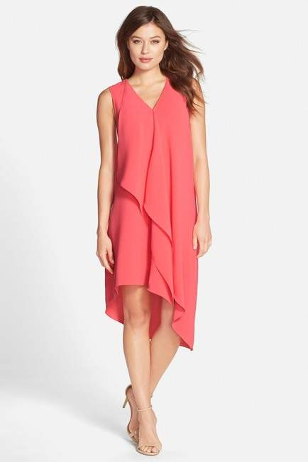Adrianna Papell Ruffle Front Crepe Hi-Lo Dress