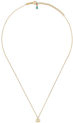 Gucci 18k Gold GG Running Necklace w/ Topaz