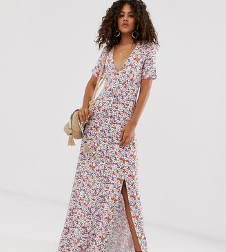Asos Tall DESIGN Tall button through maxi tea dress with splits in grunge ditsy print-Multi