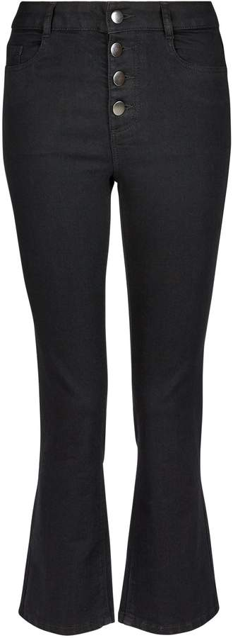 Dorothy Perkins Womens Black Button Crop 'Kick Flare' Jeans