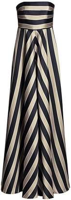 Halston Striped Strapless Gown