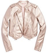 Aqua Girls' Metallic Faux Leather Cropped Jacket - Sizes S-XL