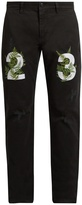 Off-White Fern-embroidered chino trousers