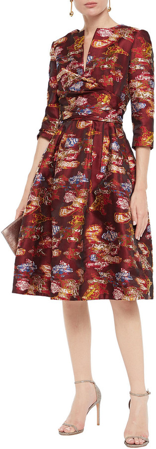 Thumbnail for your product : Oscar de la Renta Flared Fil Coupe Floral-jacquard Dress
