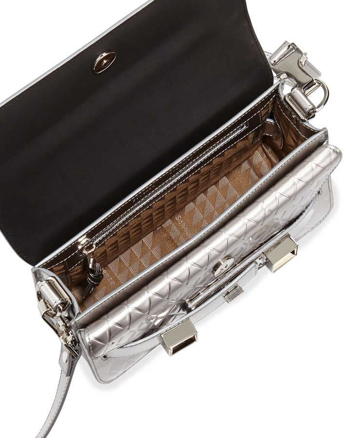 Proenza Schouler PS11 Embossed Mini Classic Shoulder Bag, Silverh