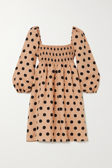 Faithfull The Brand Net Sustain Dallia Shirred Polka-dot Linen Mini Dress