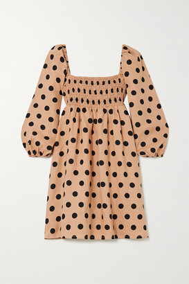 Faithfull The Brand + Net Sustain Dallia Shirred Polka-dot Linen Mini Dress - Camel