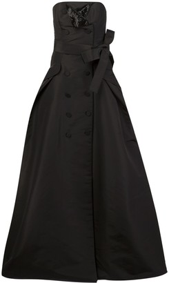 Carolina Herrera button detailing strapless gown