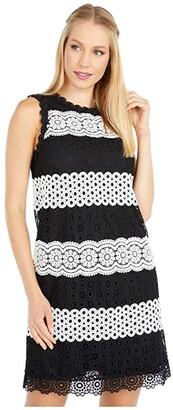 Kate Spade Floral Dot Lace Shift Dress (Black) Women's Dress