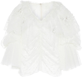 Rodarte Embroidered Floral V-Neck Blouse