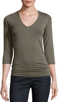 Majestic Paris for Neiman Marcus Soft Touch 3/4-Sleeve V-Neck Tee
