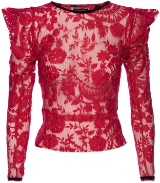 Lahive Dylan Semi Sheer Red Embroidered LaceTop