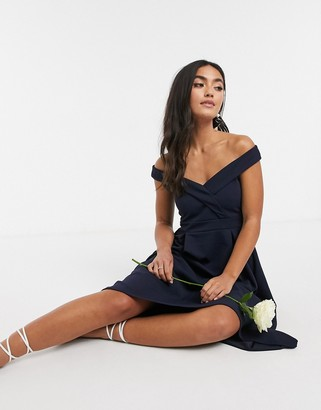Little Mistress bardot midi bridesmaid dress in navy